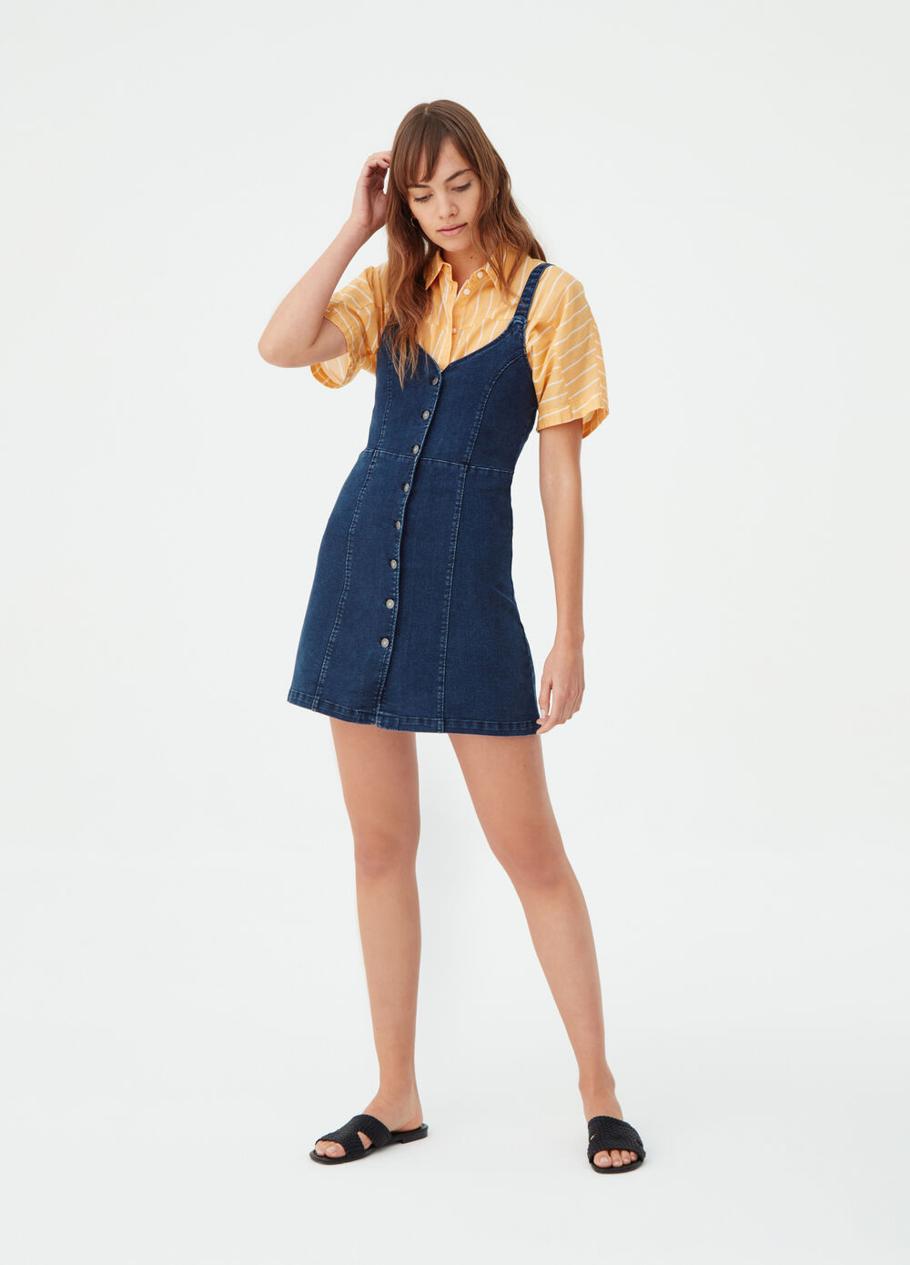 Stretch denim dress with V neck