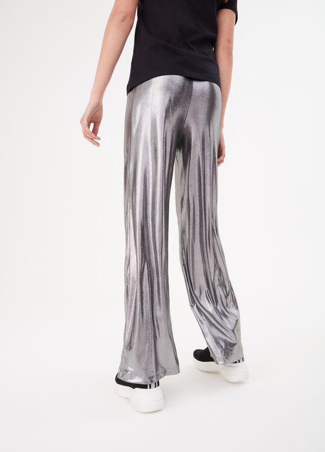 Silver-effect palazzo trousers