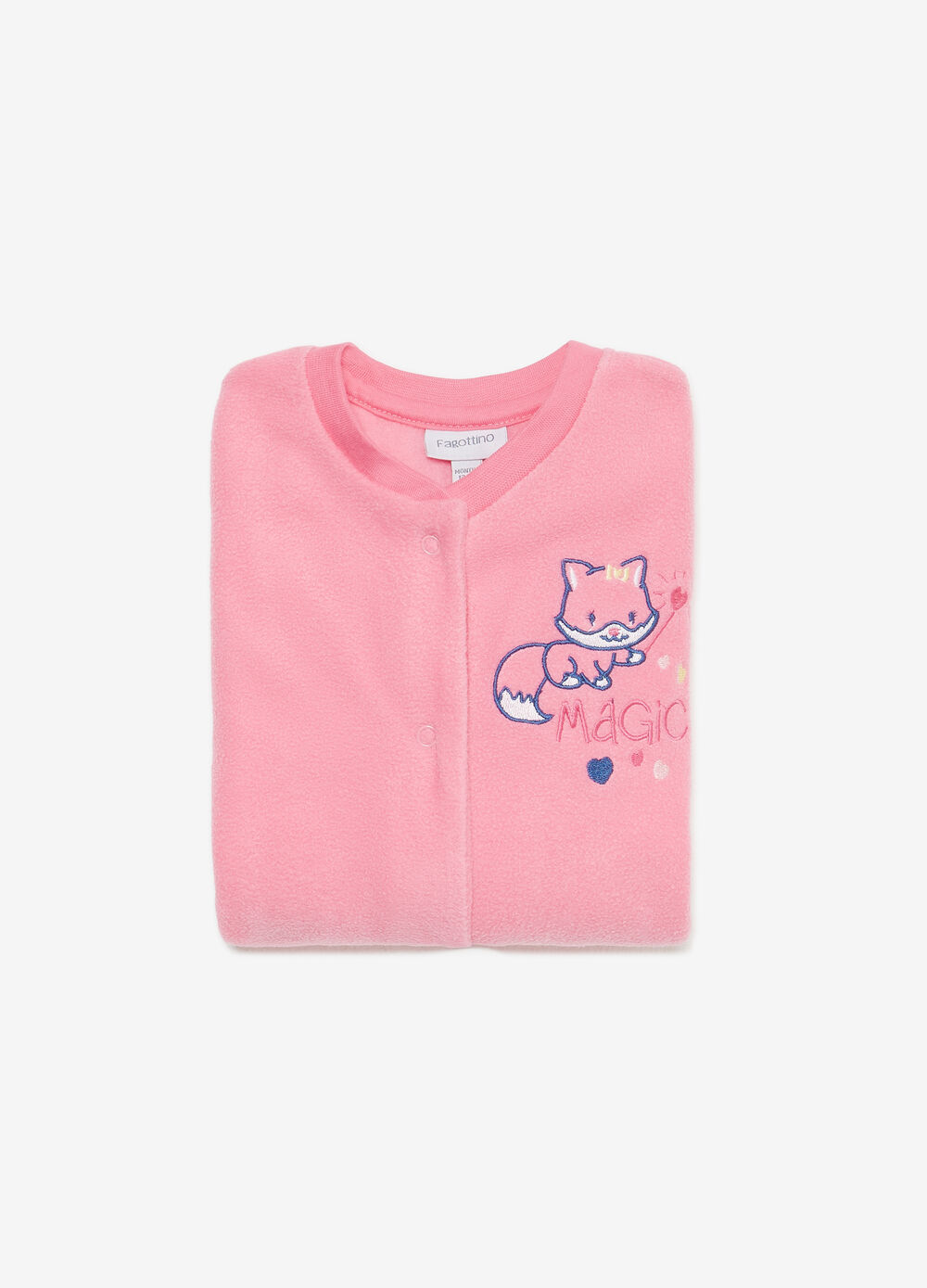 Solid colour sleep suit with fox embroidery