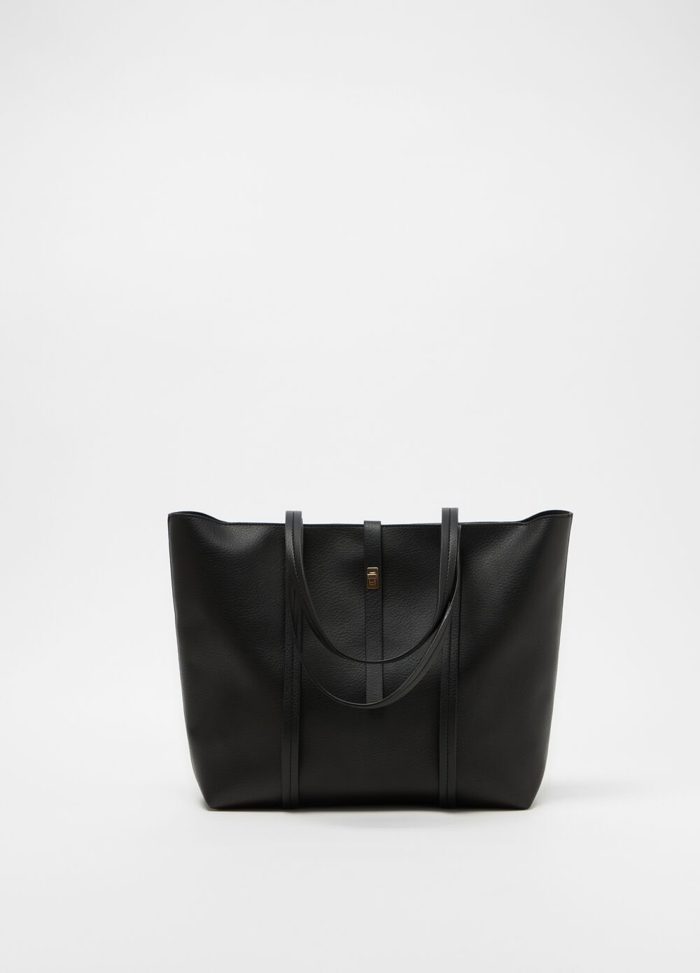 Solid colour textured leather-look bag