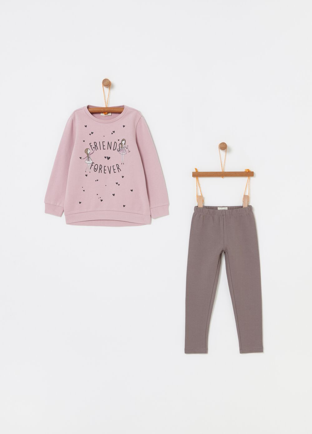 Sweatshirt and leggings jogging set with print
