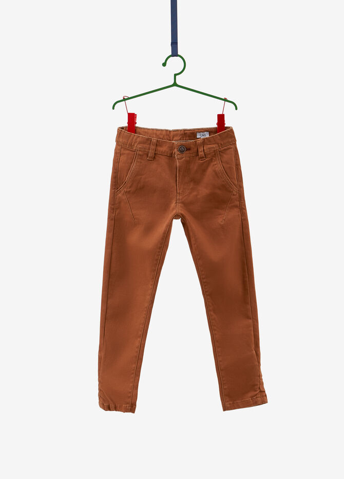 Solid colour cotton blend chino trousers