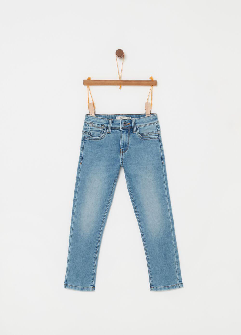 Faded effect slim-fit stretch jeans