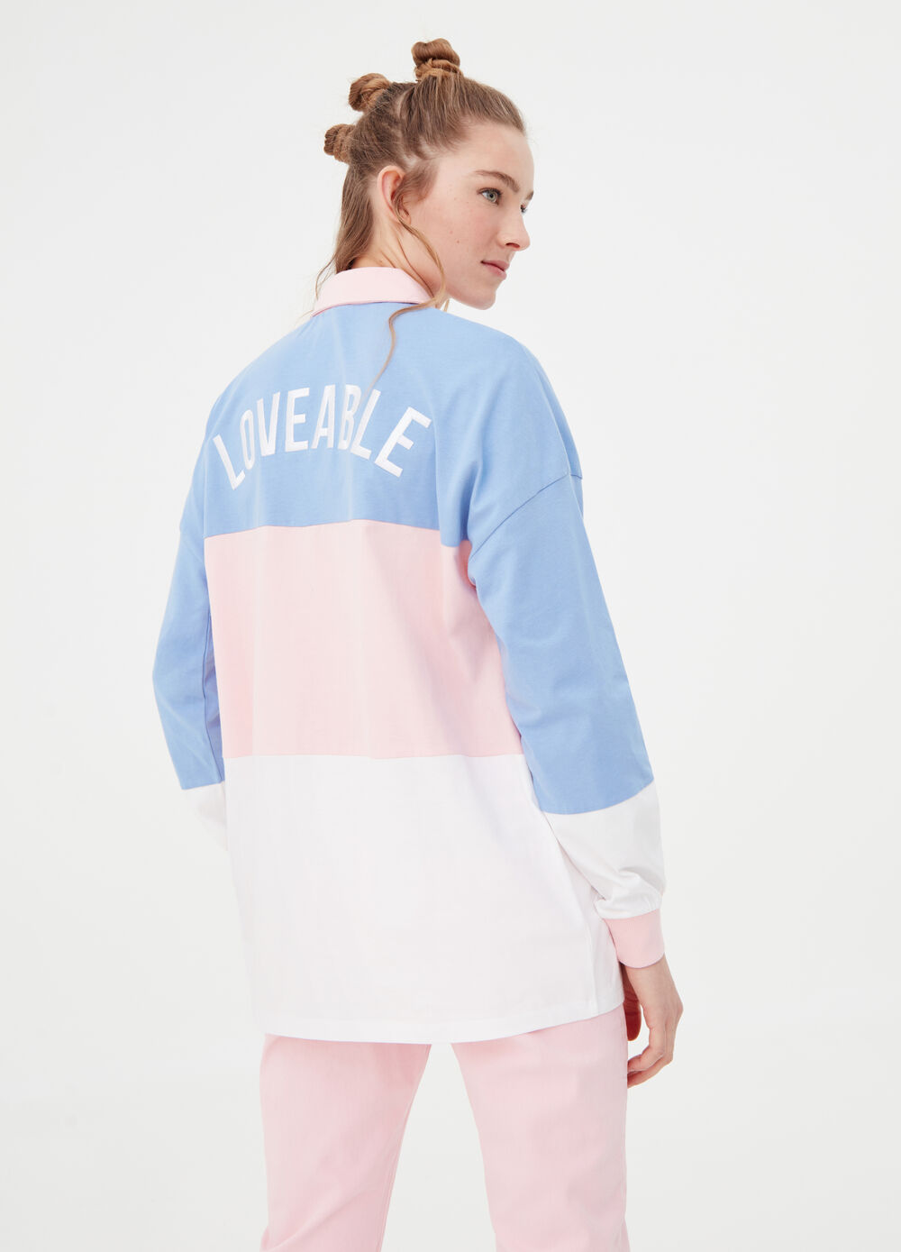 Oversized striped polo shirt with embroidery on the back