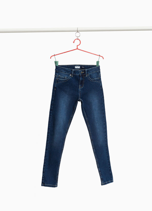 Washed-effect stretch jeans with fading