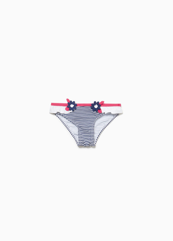 Striped swim briefs with flounce and flowers