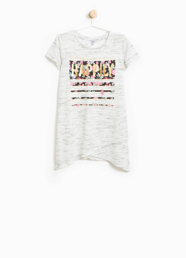 Printed mélange T-shirt in stretch viscose | OVS