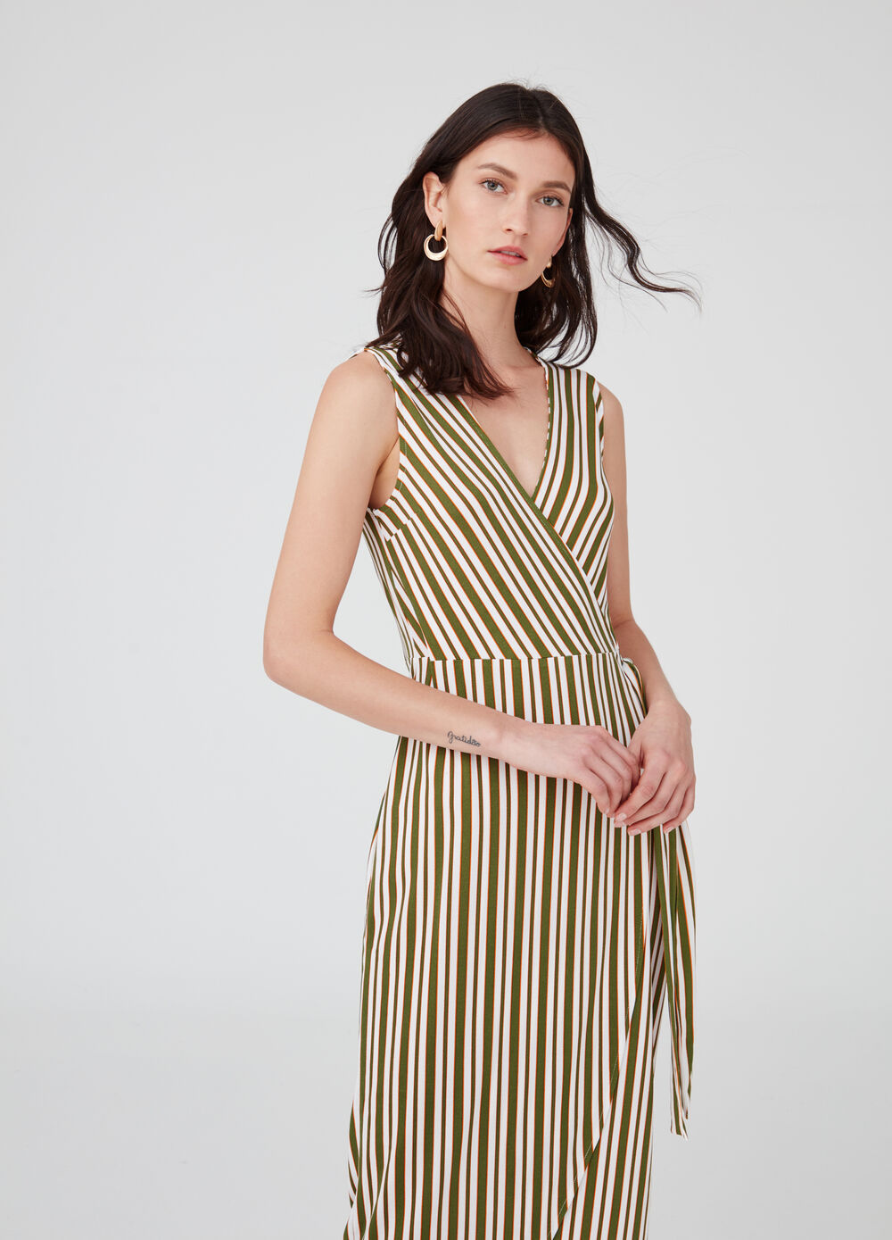 Wraparound striped dress with V-neck