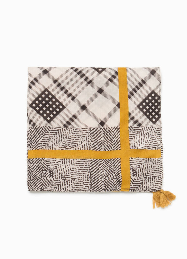 Scarf with geometric pattern and tassels | OVS