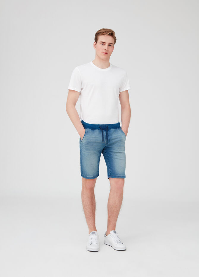 Shorts in denim slim fit stretch con tasche
