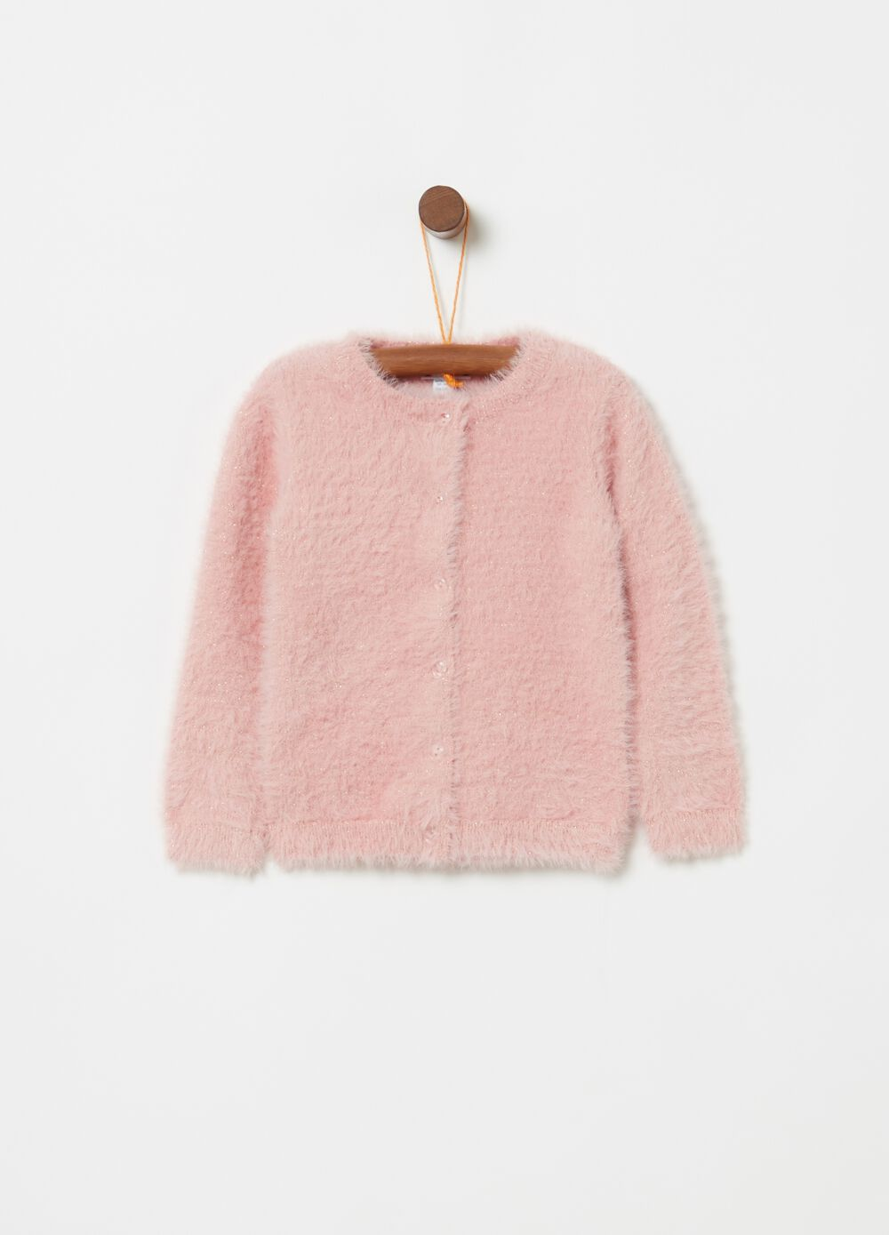 Flocked-effect cardigan with lurex