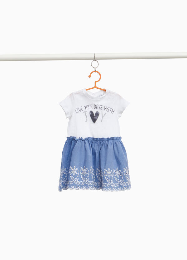 Two-tone cotton dress with embroidery