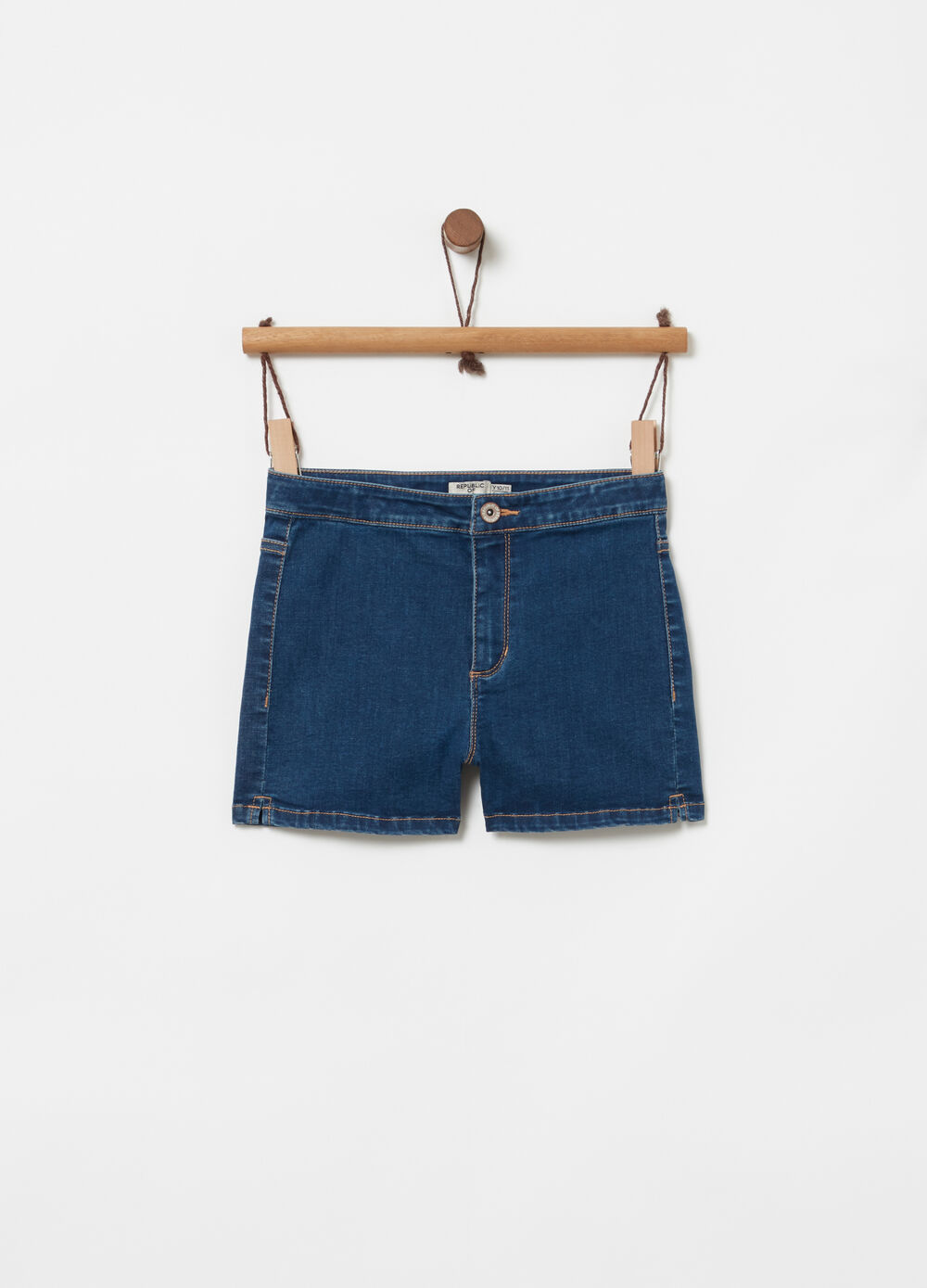 Shorts in denim vita alta e spacchetti