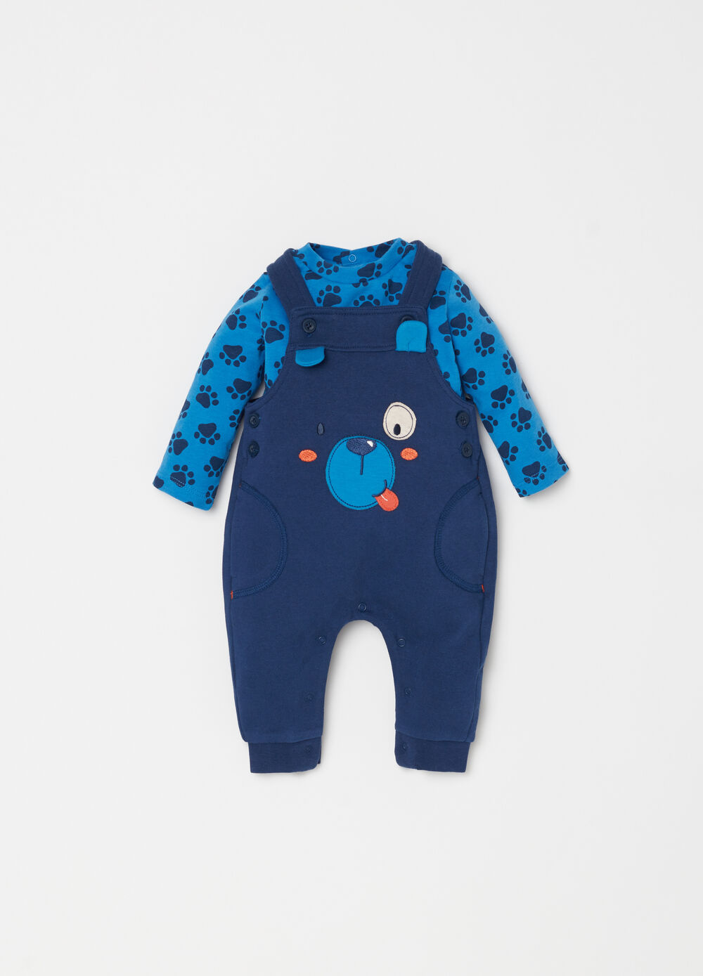 T-shirt and dungarees set with puppy patch