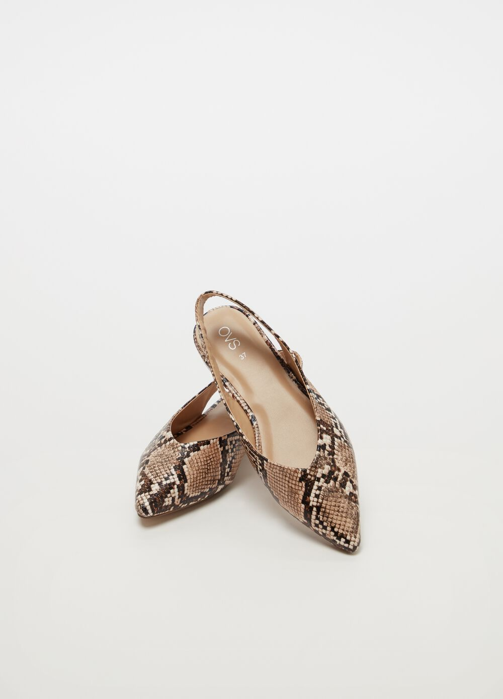 Slingbacks estampado de serpiente