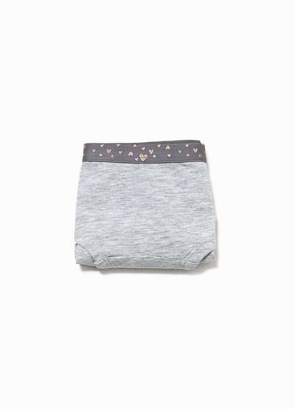 Organic cotton French knickers with glitter hearts