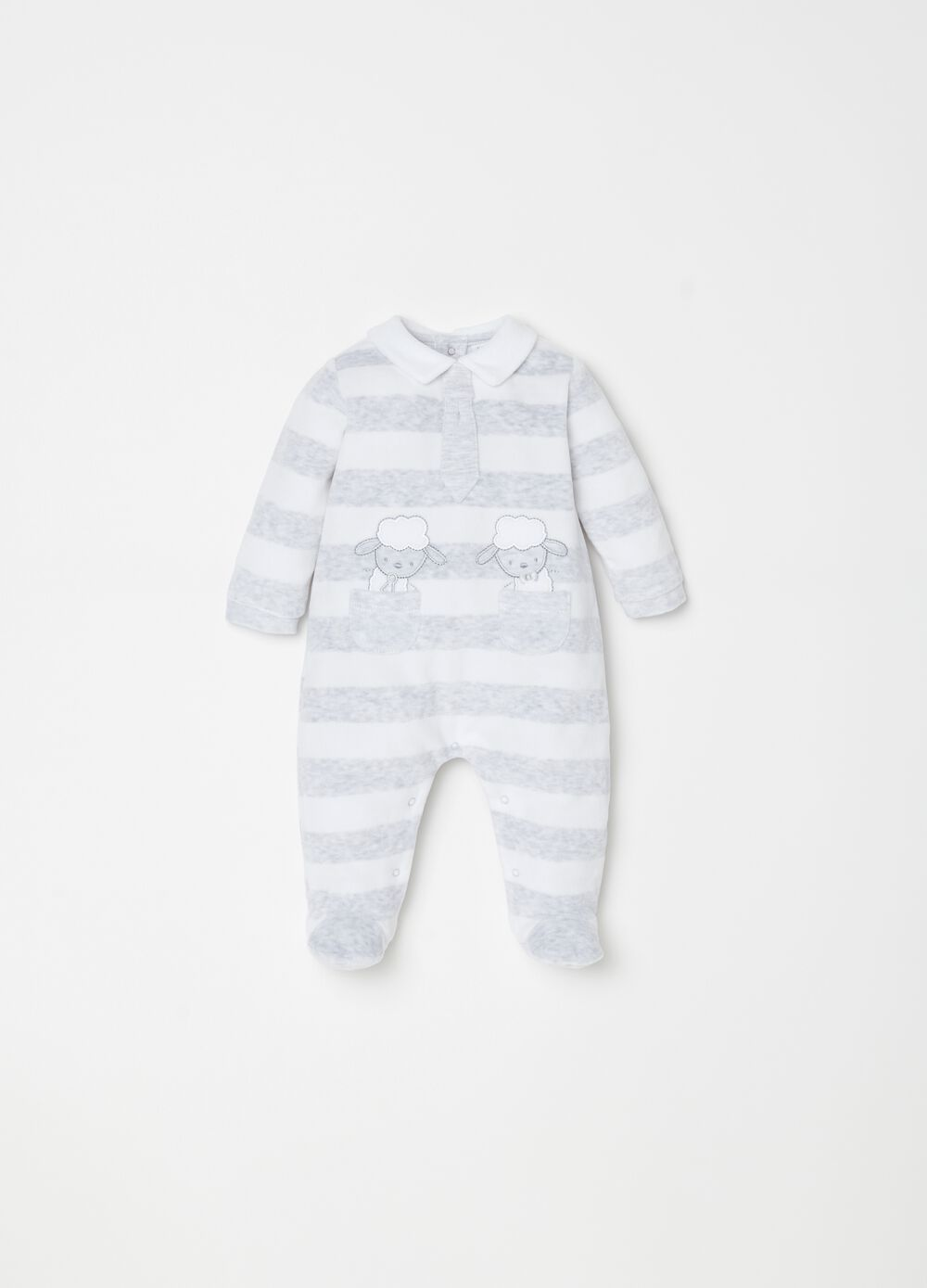 Onesie with striped feet and embroidery