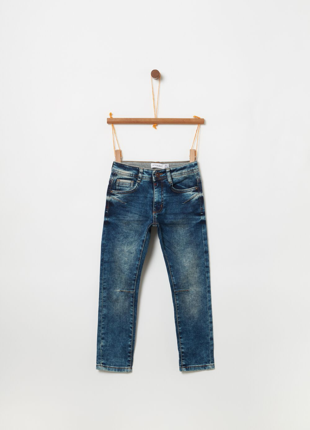 Comfort-fit jeans with misdyed and washed effect