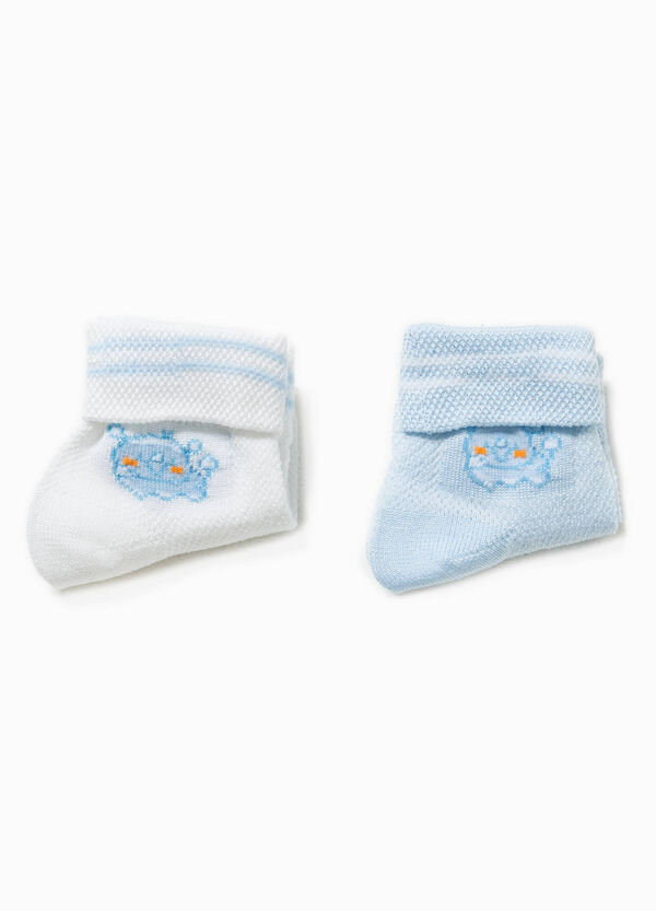 Two-pair pack socks with embroidery