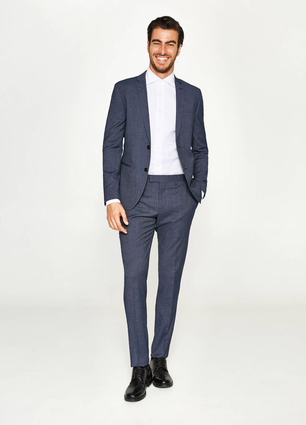 Slim-fit solid colour suit in viscose | OVS