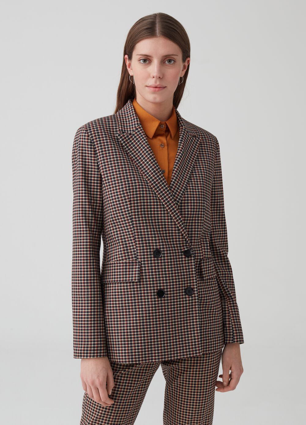 Double-breasted blazer with micro check pattern