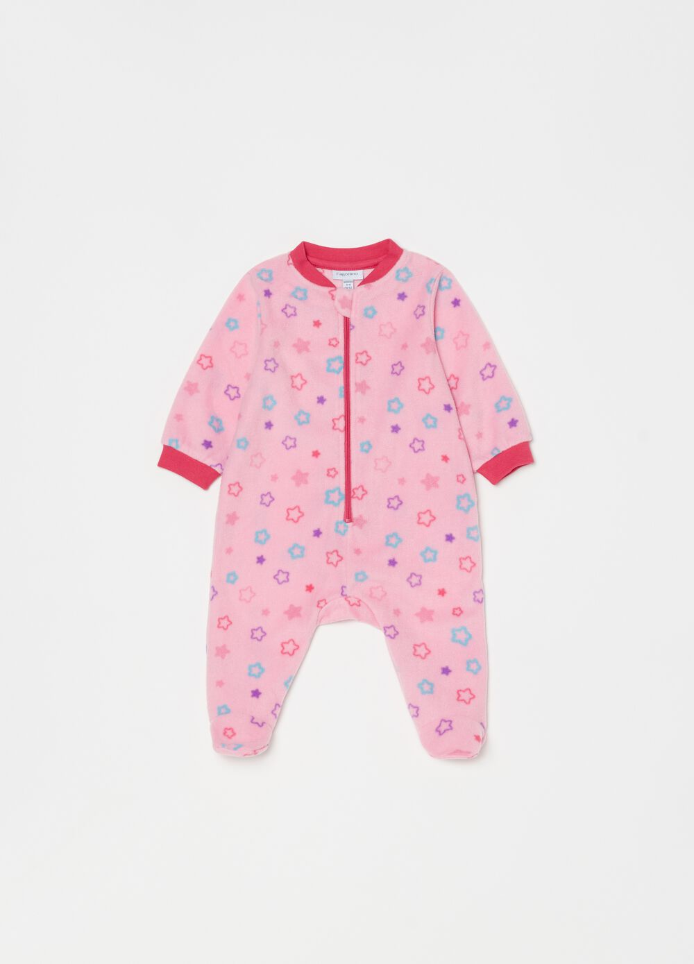 Onesie with feet and small stars pattern