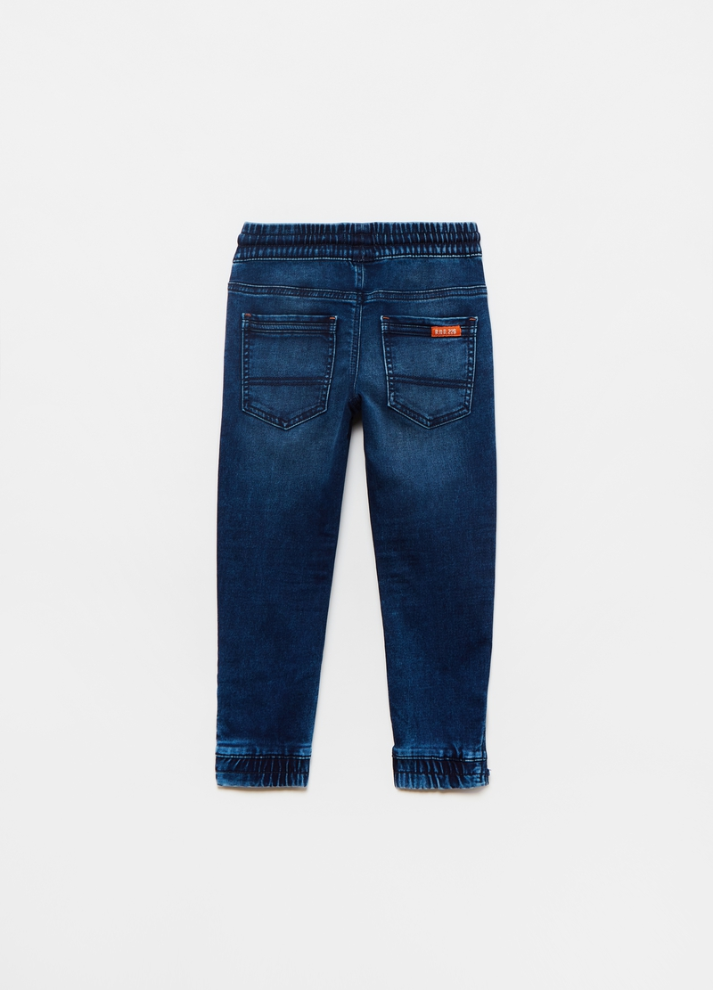 Denim joggers with pockets and zip image number null