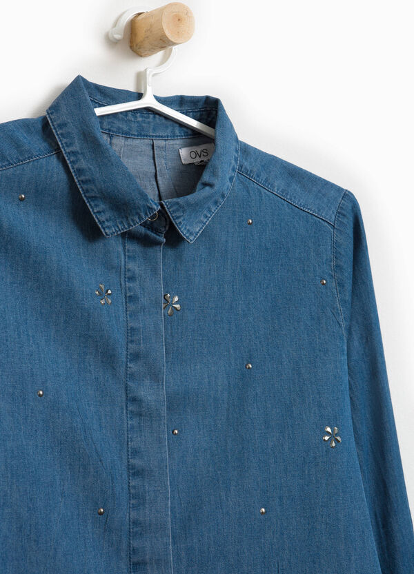 Denim shirt with diamantés and studs | OVS