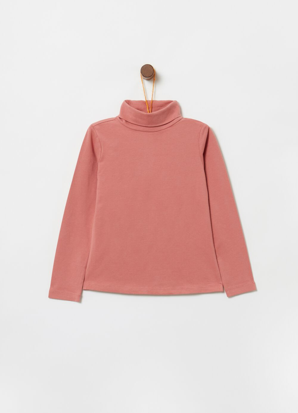 Turtleneck jumper in stretch organic cotton with high neck