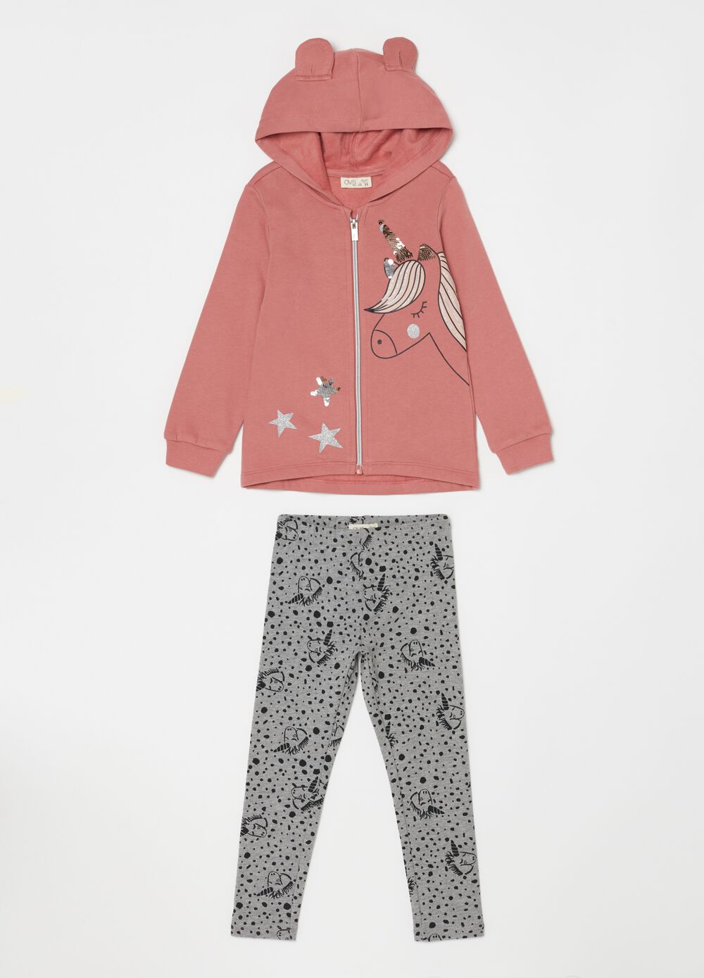Sweatshirt and trousers jogging set with unicorns