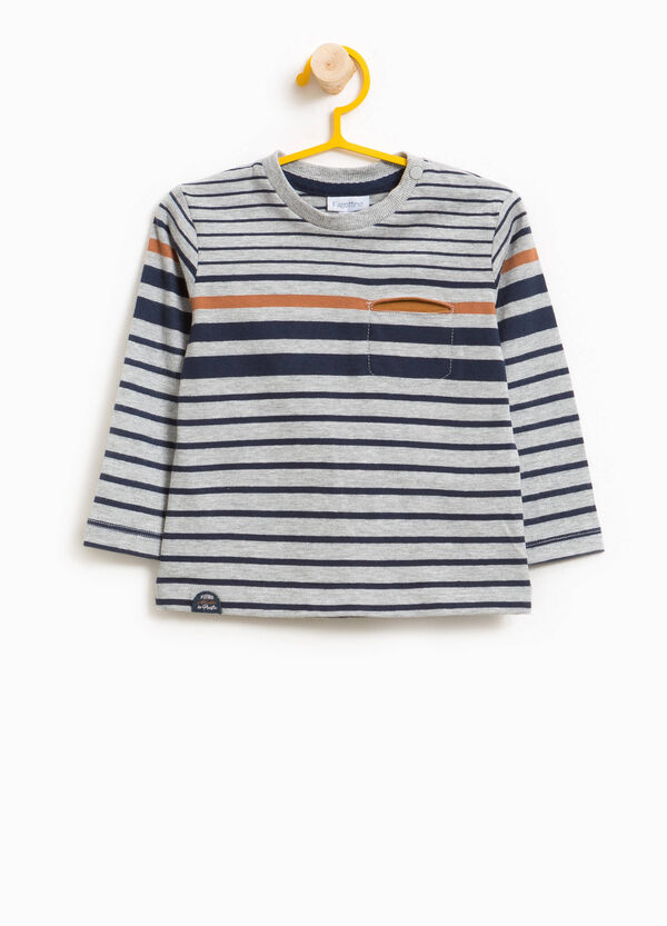 Striped T-shirt with round neck and pocket | OVS