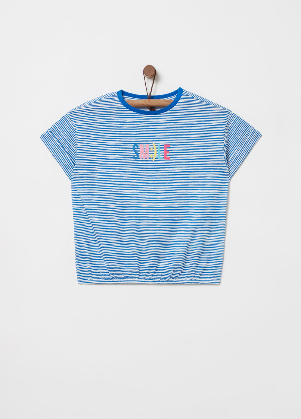 T-shirt with cap sleeves and striped pattern