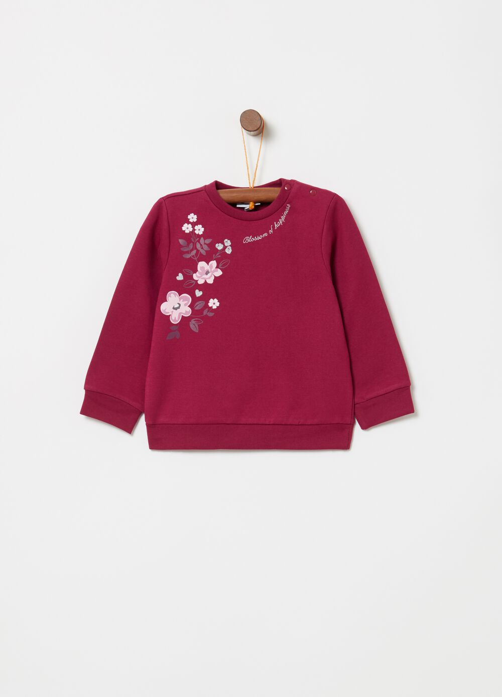 Stretch organic cotton sweatshirt with floral print