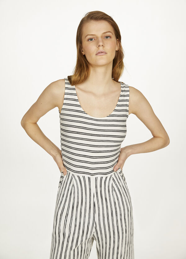 Stretched striped sleeveless playsuit