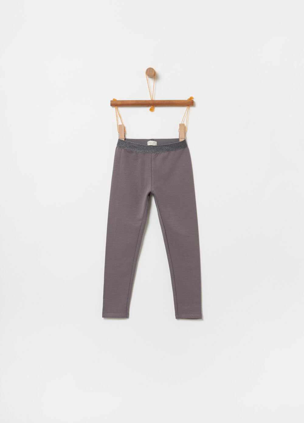 Stretch fleece trousers with glitter