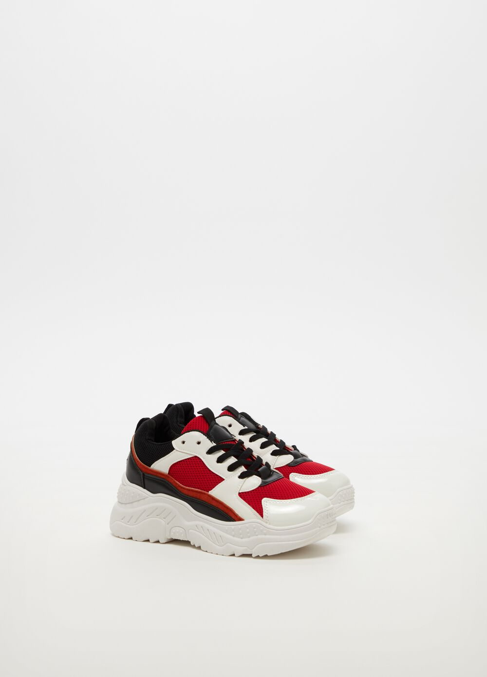 Chunky sneakers with mesh upper and laces