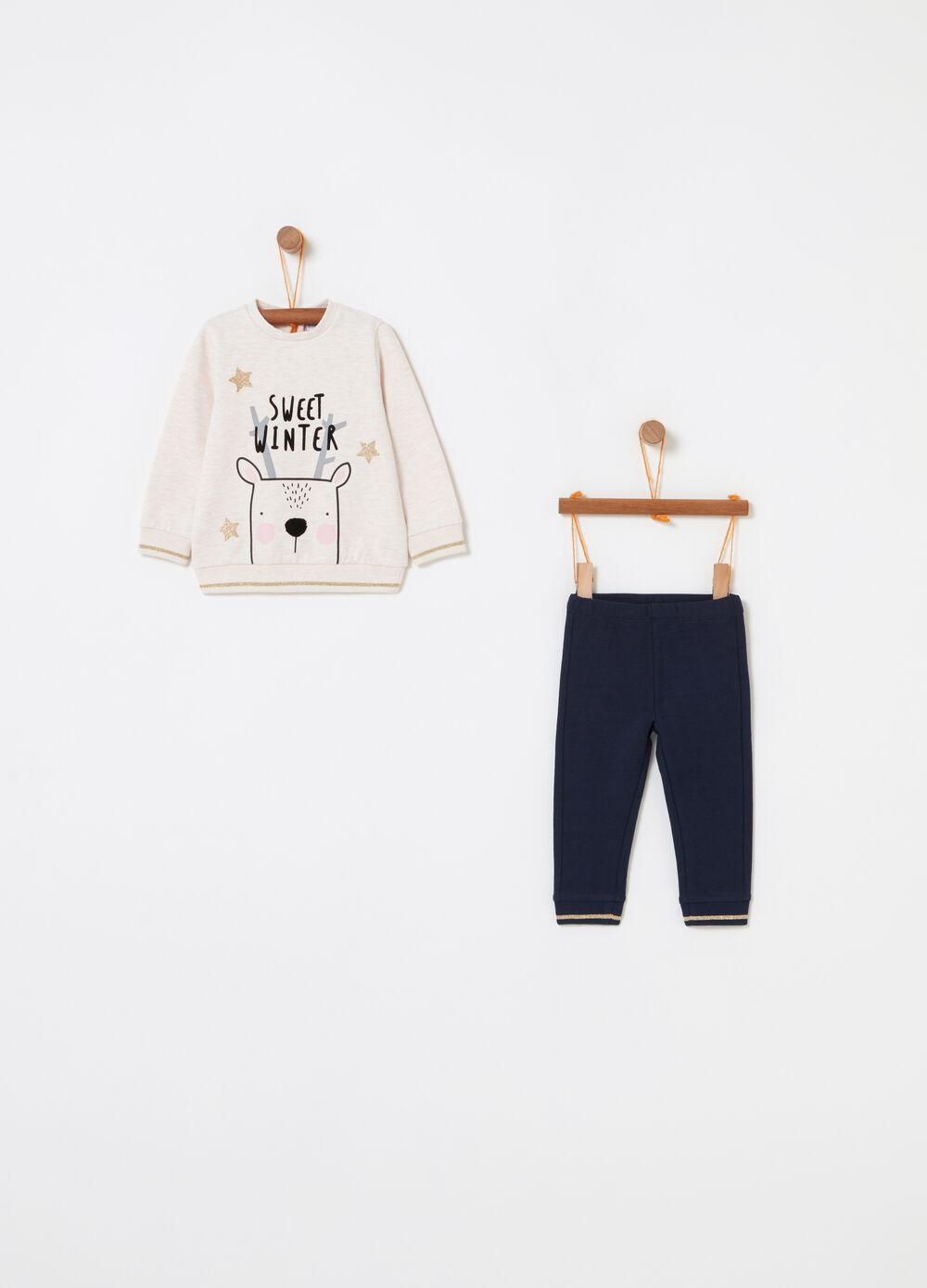 Jogging set with Christmas moose print