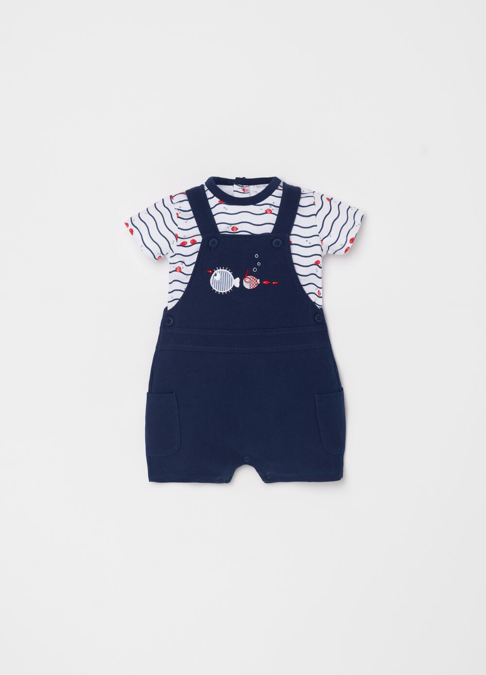 T-shirt and dungarees set with fish embroidery