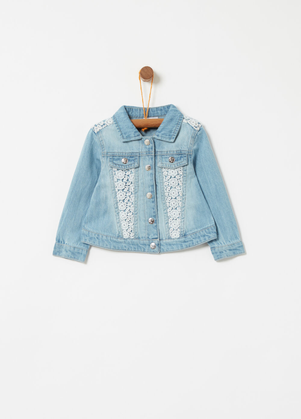 Denim jacket with macramé inserts