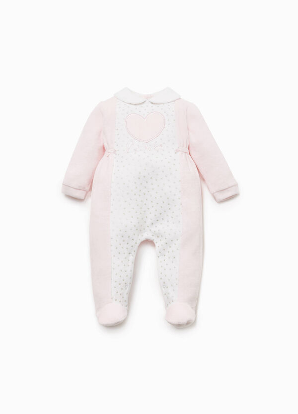 Onesie with glitter hearts pattern and patch