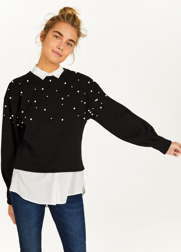 Crop sweatshirt in 100% cotton with beads