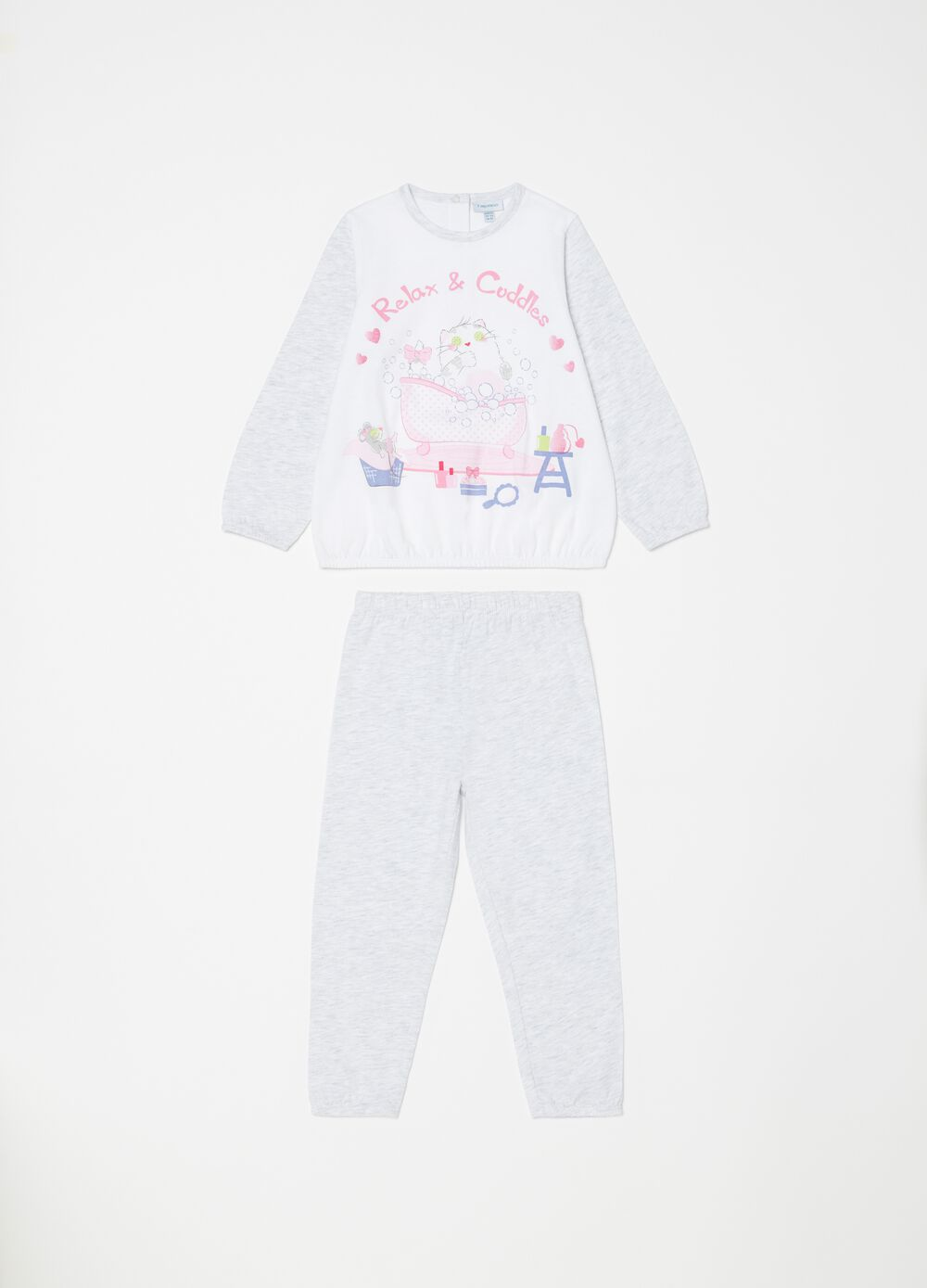 Biocotton mélange pyjamas with print