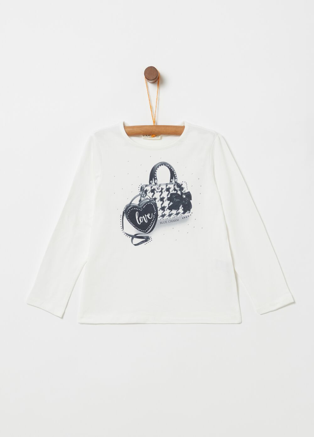 Stretch organic cotton T-shirt with print and diamantés