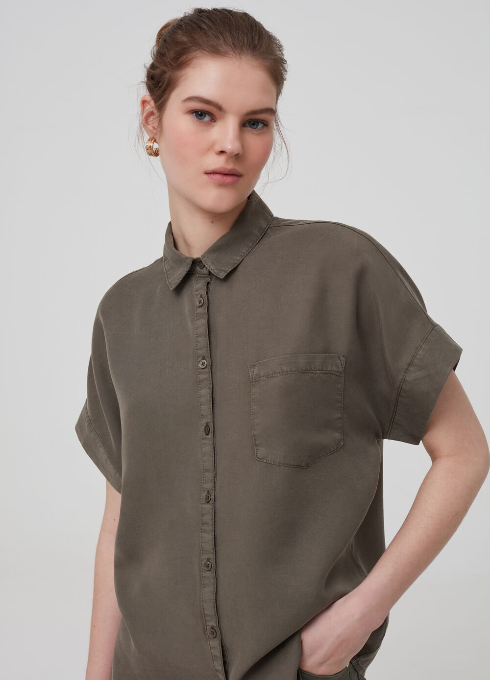 100% Lyocell shirt with pocket