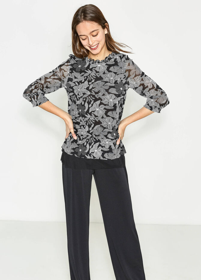 Floral patterned blouse with flounces