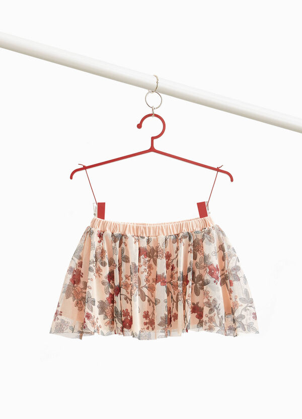Tulle skirt with floral print