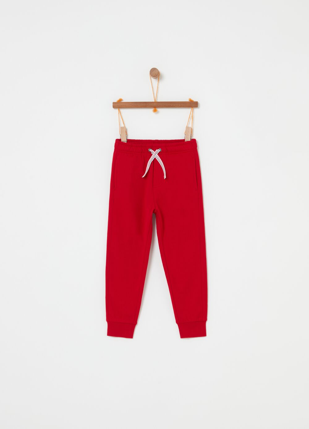 Cotton fleece trousers with drawstring