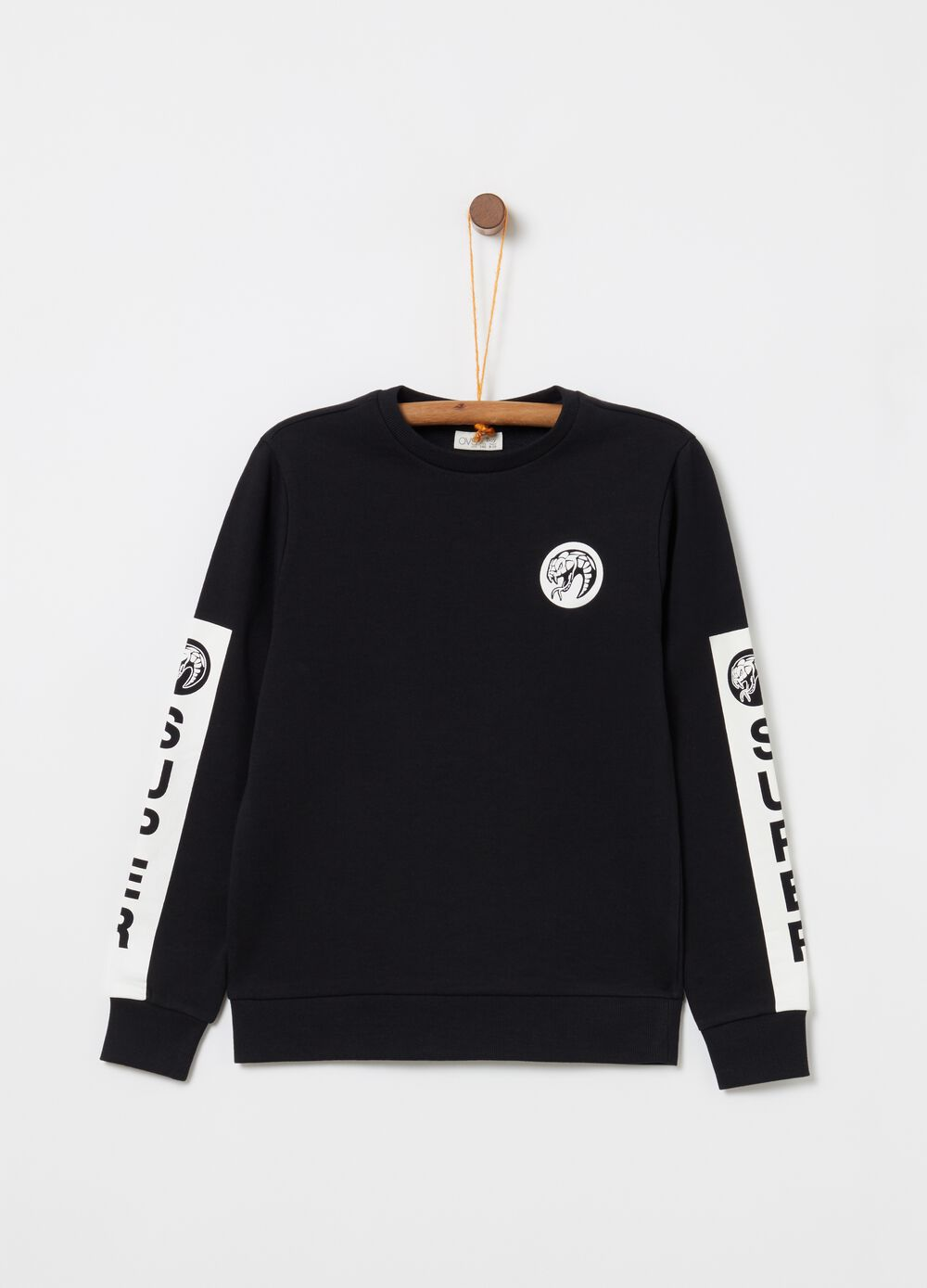 100% cotton ribbed sweatshirt with print