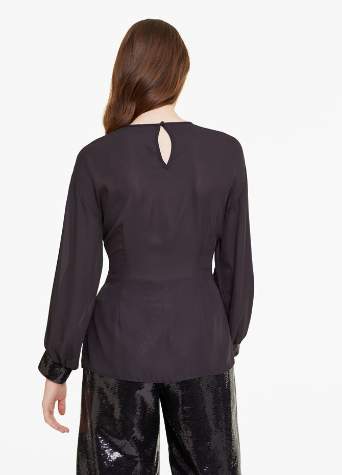 Blouse with bow and sequins