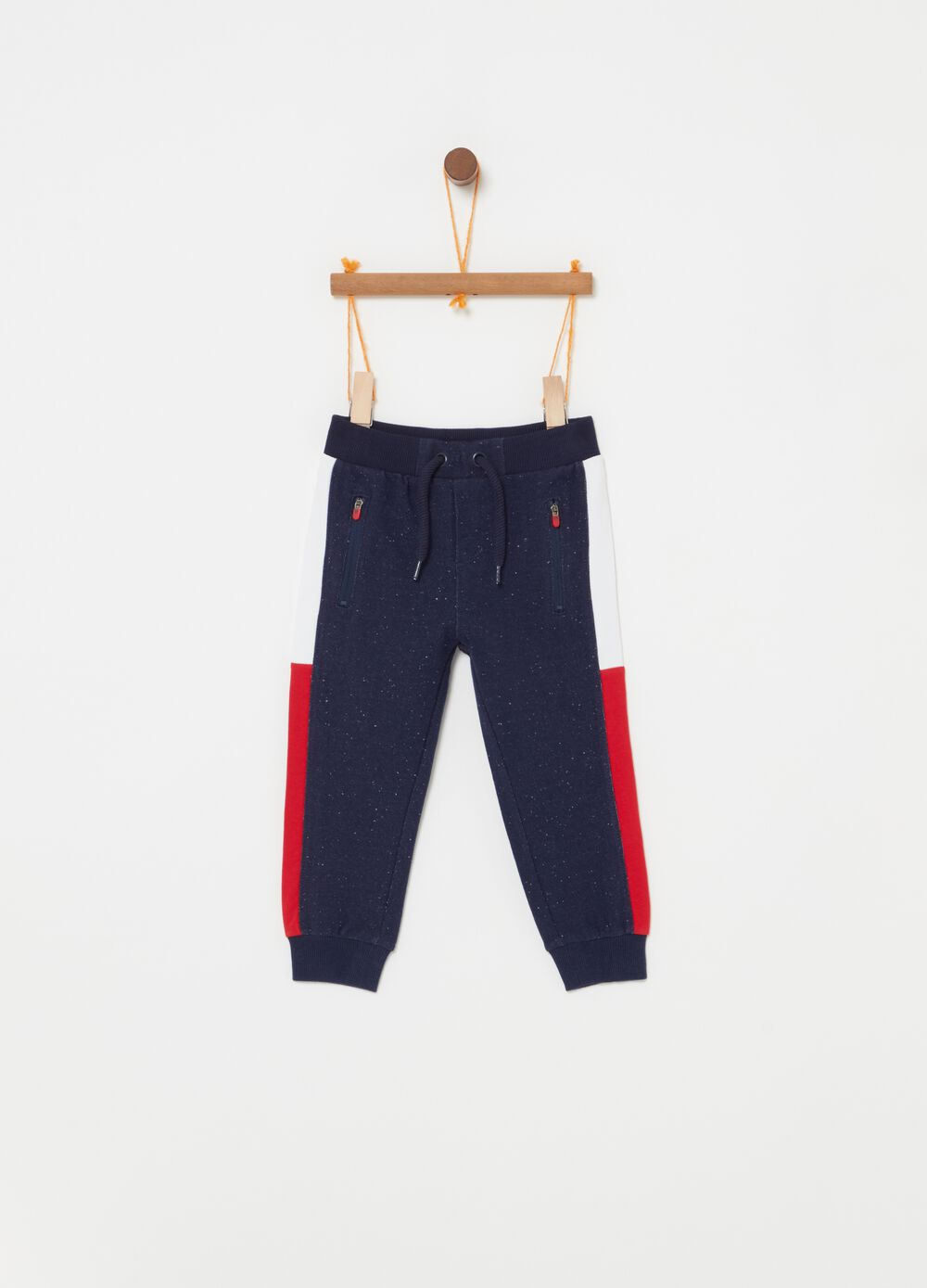 French terry trousers with contrasting inserts